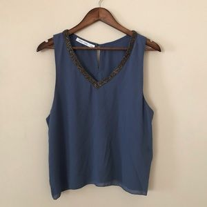 Anthro - Bishop + Young Beaded V Neck Tank Top L